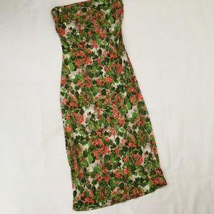 Milly Floral Print Tube Midi Dress